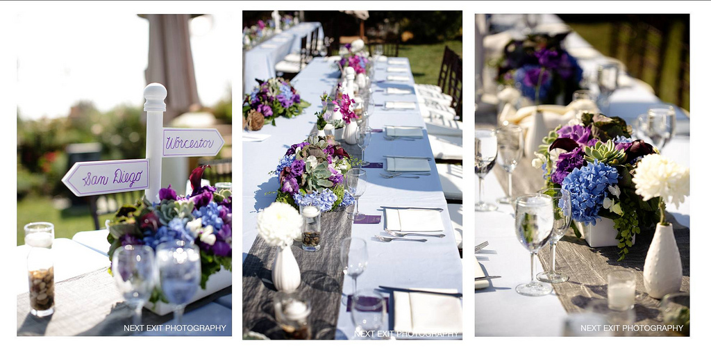 rancho del cielo white+purples long tables