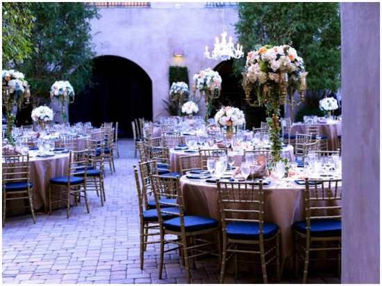 serra plaza navy+gold reception